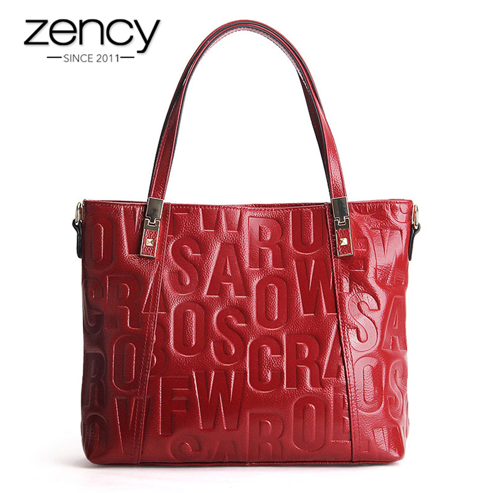 Zency Luxury Female Shoulder Bag 100% Natural Leather Fashion Grey Messenger Lady Charm Dark Red Handbag Crossbody Purse