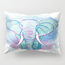 African Cushion Cover Colored Elephant Long Decorative Pillowcase Star Watercolor Sofa Blue Accessories