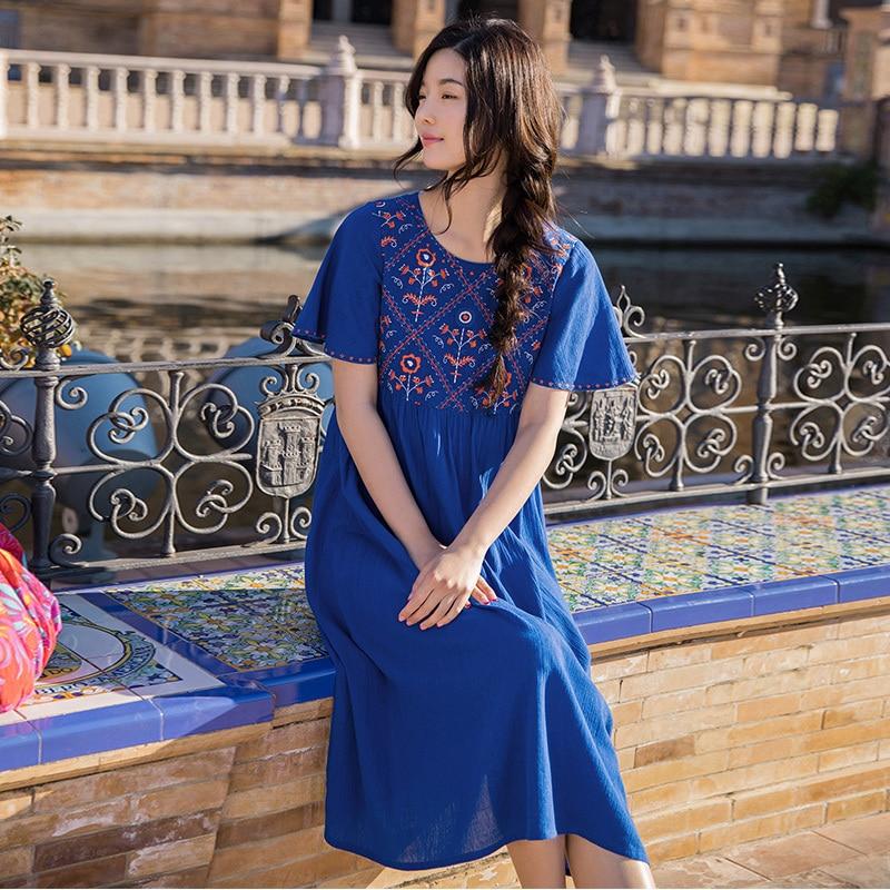 INMAN  Summer Dresses Round Neck Retro Ethnic Embroidery Lady Dresses A Line Cotton Loose High Waist Women DressDresses   -