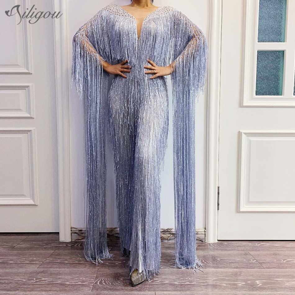 Ailigou Silver Grey Rhinestone Jumpsuit Birthday Celebration Tassel Bodysuit Stage Dance Tights Female Singer Dancer Costume