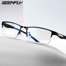 SEEMFLY metalowe pół ramki okulary do czytania okulary kobiety mężczyźni okulary korekcyjne okulary kobieta mężczyzna Semi Rimless okulary nadwzroczność okulary tanie tanio Unisex Przezroczysty Lustro Z tworzywa sztucznego YJ7625 5 8cm Stop 3 2cm