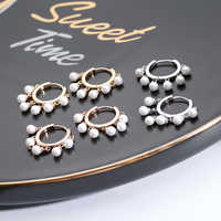 2019 New Korea Freshwater Pearls Gold Silver Color Circle Hoop Earrings For Women Fashion Small Brincos Jewelry Gift