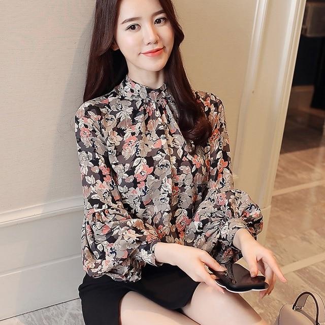 Fashion woman blouses 2020 print chiffon blouse shirt womens tops and blouses long sleeve women shirts blusas femininas 1