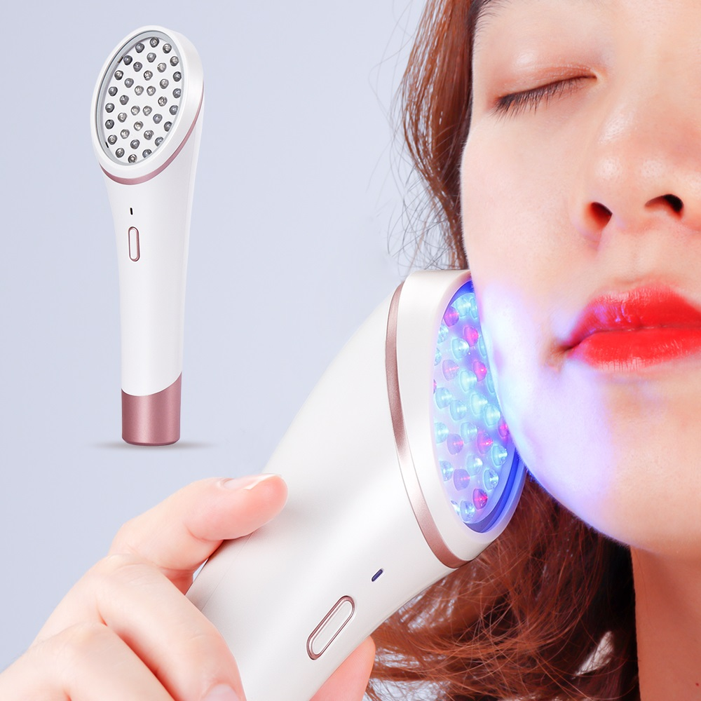 LED Photon Skin Rejuvenation Light Acne Light Therapy Red Blue Light Treatment Device Soft Scar Wrinkle Removal Cleaning Tools