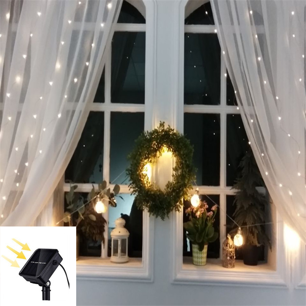 3x2/3x3m Solar LED Icicle Curtain Fairy String Light 200/300LED DIY Christmas Wedding Window Party Decor Garden Waterproof Lamp