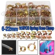 165PCS Zinc Plated Spring Hose Pipe Clamps Air Clip Clamp 10 Sizes 6-22mm assortment bolt home improvement assortment