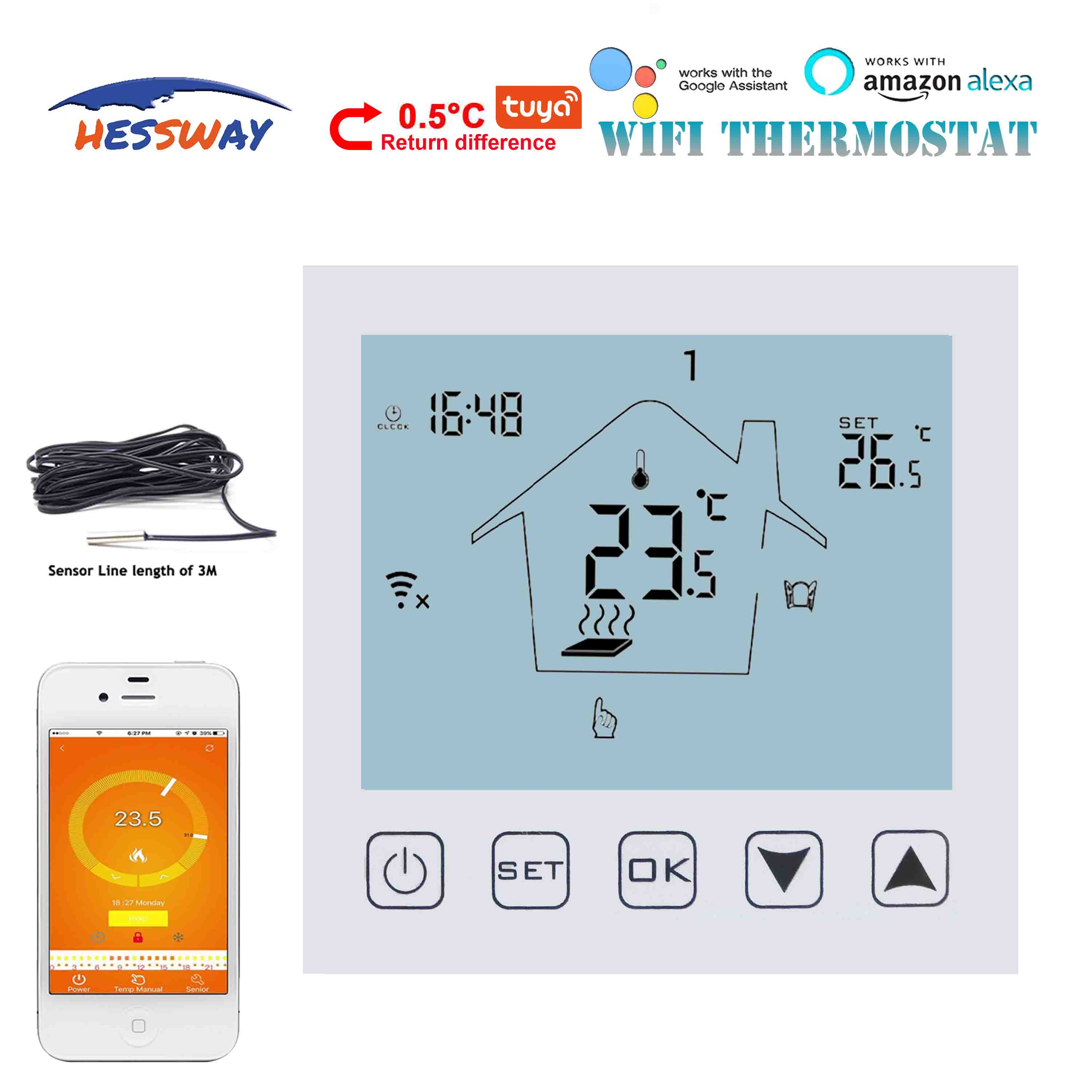 HESSWAY NO/NC  Google Home Control WIFI THERMOSTAT For Floor Heating 3A