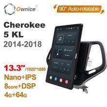 راديو السيارة PX6 ، Android 10 ، 13.3 بوصة ، IPS ، دوار تلقائي ، نظام تحديد المواقع العالمي (GPS) ، مشغل DVD ، ستيريو ، لسيارة جيب شيروكي 5 KL (2014 2018) ، طراز تسلا