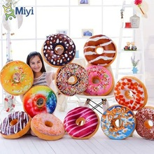 Creative Simulation Donut Pillow Cushion Plush Toy Chocolate Bagel Cute Nap Pillow Birthday Gift Christmas Cusions for Sofa