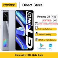 "Realme GT Neo 5G Mobile Phone 6.43"" FHD+ 120Hz Super AMOLED Dimensity 1200 Octa Core Cellhones 4500mAh 64MP AI Triple Cam 1"