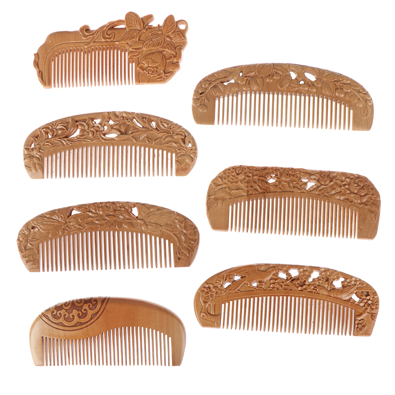 7 Styles Natural Peach Wood Comb Healthy No static Massage Hair Wooden Comb Health Care New Design Combs Combs  - AliExpress