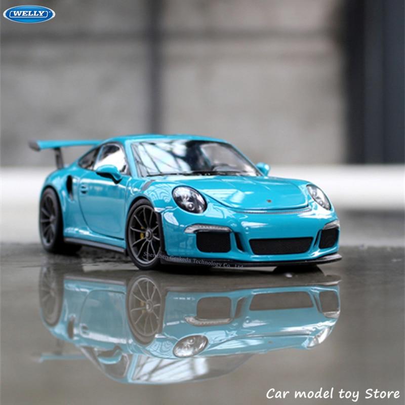 WELLY 1:24 Porsche 911GT3 RS spor araba simülasyon alaşım araba modeli el sanatları dekorasyon koleksiyonu oyuncak araçları hediye