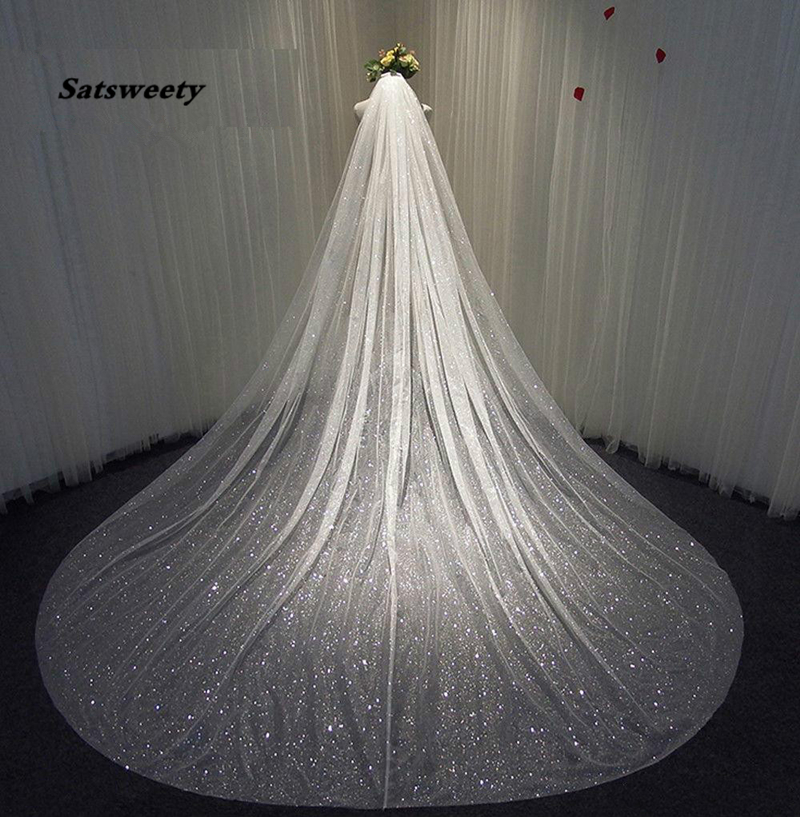 Sparkly Bling Bling Bridal Wedding Veils Bridal Veils Long Cathedral Length Sequined Beads Bride Veil With Free Comb