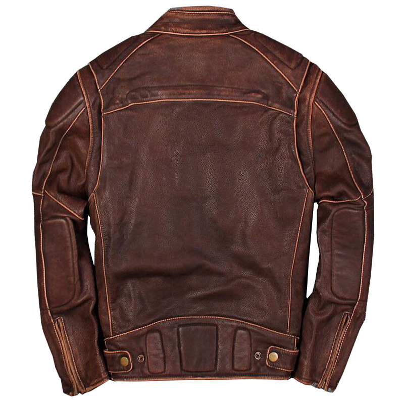 2020 Men's Genuine Leather Jacket Retro Motorcycle Leather Jacket Brown Cowhide Jackets Coat For Male