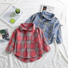 Korean Children's Clothing Boys Long-sleeved Shirt 2020 Autumn New Cotton Turn Down Collar Boys Top Tees Kids Plaid Shirts 1-5Y(China)