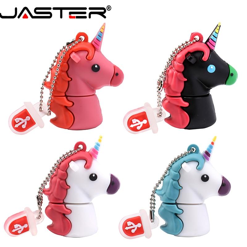 JASTER USB 2.0 Cartoon Cute Hippocampus Unicorn Horse Flash Drive Real Shot Pen Drive 4G 8G 16G 32G 64GB USB  Flash Drive