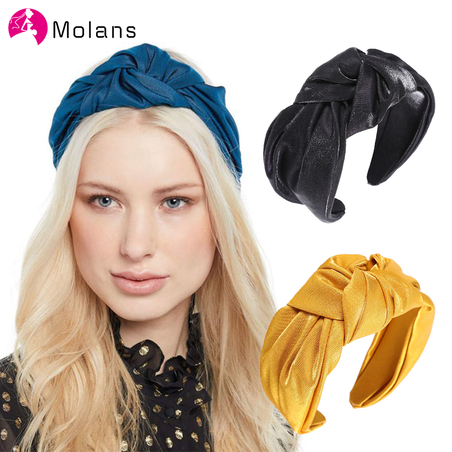Molans New Glossy Knotted Headband Simple Style Glittering Pleated Hairband For Woman 5.5cm Width Headbands Female Headpieces
