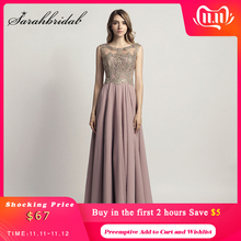 New 2021 Cheap Long Prom Dresses Chiffon Sheer Evening Party Gown Beading Lace Applique Bodice Formal Women Robe De Soiree OL475