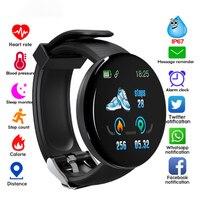 Reloj inteligente D18 para hombre y mujer, pulsera con cronómetro de presión arterial, para IOS y Android