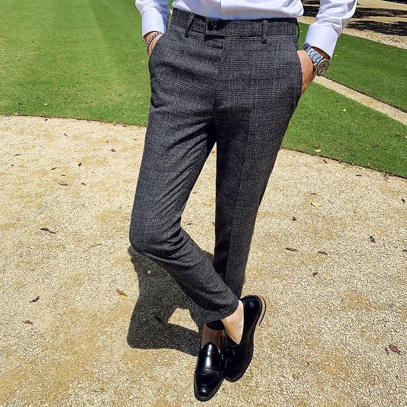 2019 Autumn Winter Pantalon Clasico Hombre Plaid Suit Trousers Pants Men Wedding Pants Men Office Pants Business Pants Slim Fit 4