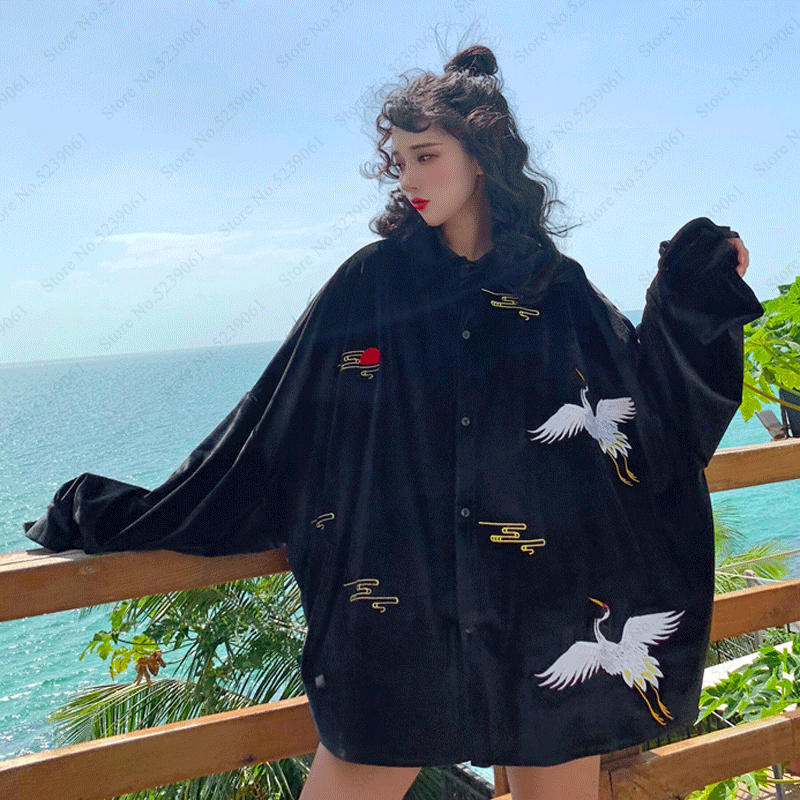 Women Men Japanese Style Retro Embroidery Velvet Jackets Couple Harajuku Loose Hip Hop Coat Yukata Kimono Fashion Haori Cardigan
