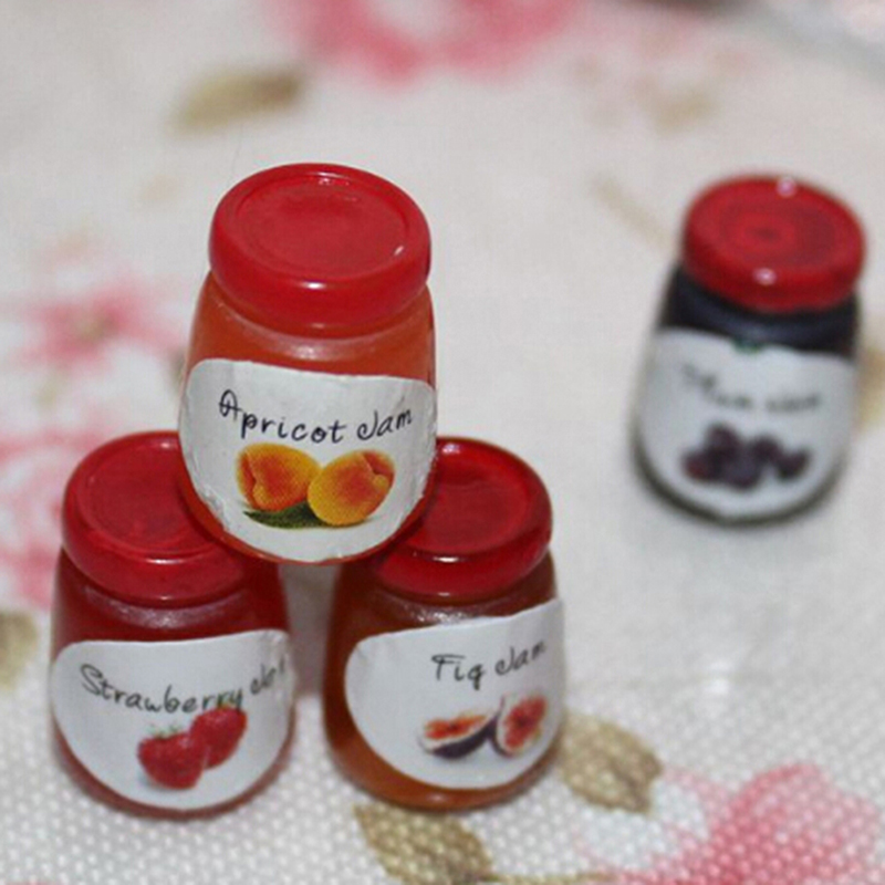 1pcs 1:12 Kitchen Food Jam Condiment DIY Decor Dollhouse Miniature High Quality