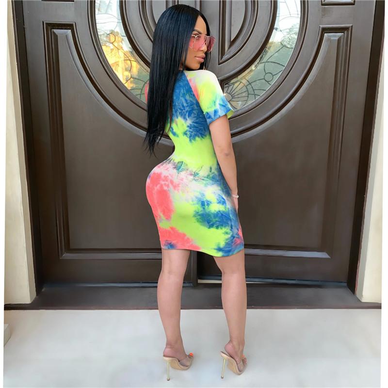 Fashion New Women O Neck Short Sleeves Multicolor Tie Dye Print Bodycon Dress