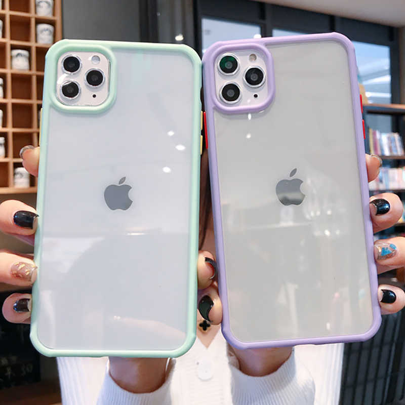 Shockproof Candy Color Bumper Phone Case For iPhone 11 11 Pro Max 7 8 6 6S Plus X XR XS Max Transparent Soft Acrylic Back Cover