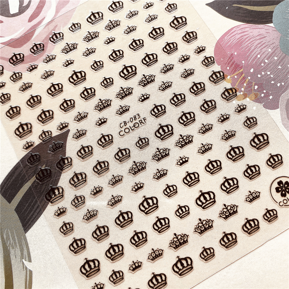 CB-083 Crown, Royal Crown, Imperial Crown 3D Back Glue Nail Decal Nail Sticker Nail Decoration Nail Art Nail Tool Nail Ornament