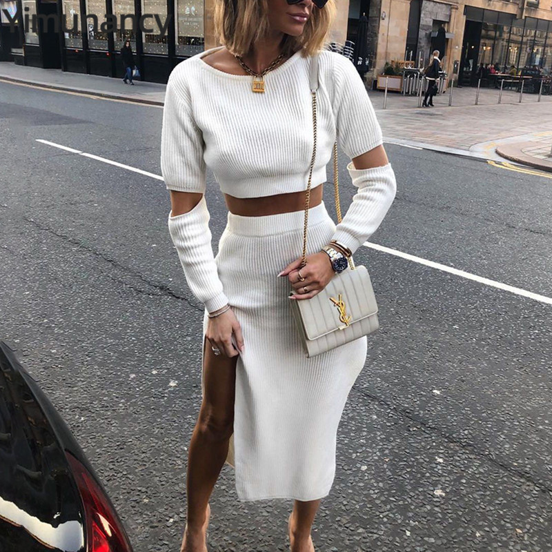 Yimunancy Autumn Winter Knitted Women Suit White Cropped Sweater Pullovers + High Cut Out Sexy Skirt Fashion Two-piece Suit
