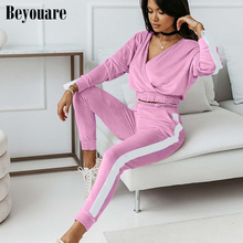 Beyouare Velvet V Neck Trousers Suit Splicing White Women Loose Two Piece Set Folds Crop Tops Elastic Waist Pants Casual Outfit