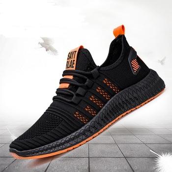 Modne trampki lekkie męskie obuwie oddychające obuwie męskie zasznurowane buty sportowe tanie i dobre opinie covadis Mesh (air mesh) CN (pochodzenie) Przypadkowi buty RUBBER Lace-up Pasuje prawda na wymiar weź swój normalny rozmiar