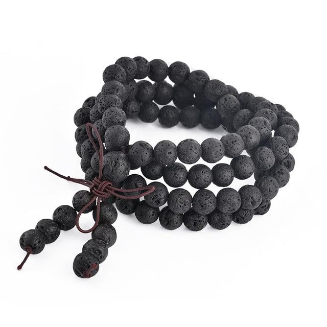 1Pc 6mm 8mm pierre de lave naturelle pierre de guérison pierre gemme 108 bouddhiste prière perles tibétain Mala Bracelet collier