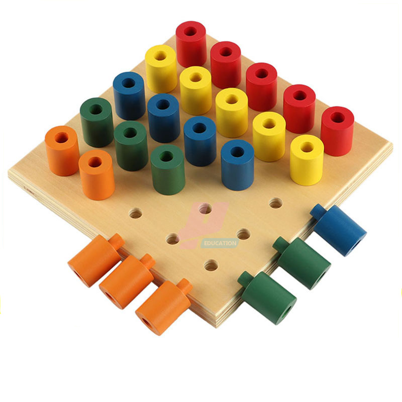 Montessori sensoriel Instruction enfants bois blocs de construction Simple Piston jouets bébé Intelligent main-oeil Coordination jouets