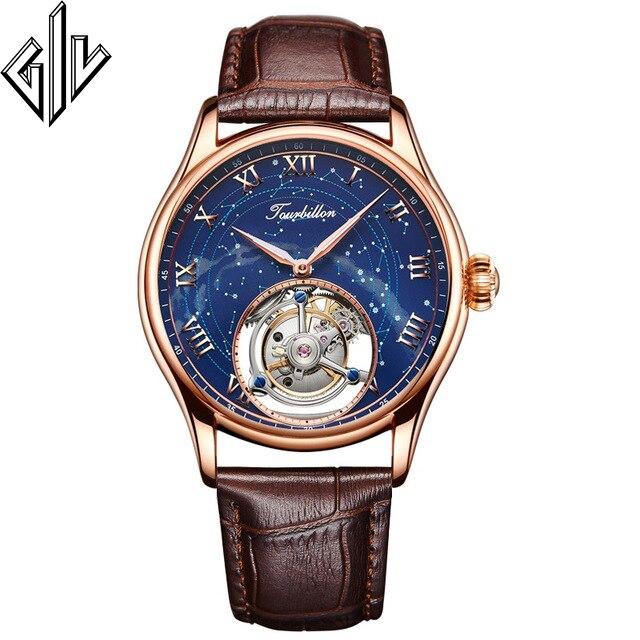 Tourbillon GIV Watch Men Real 100% Tourbillon Clock Luxury Brand Skeleton Hand Wind Mechanical Watch Montre Homme 2020 New