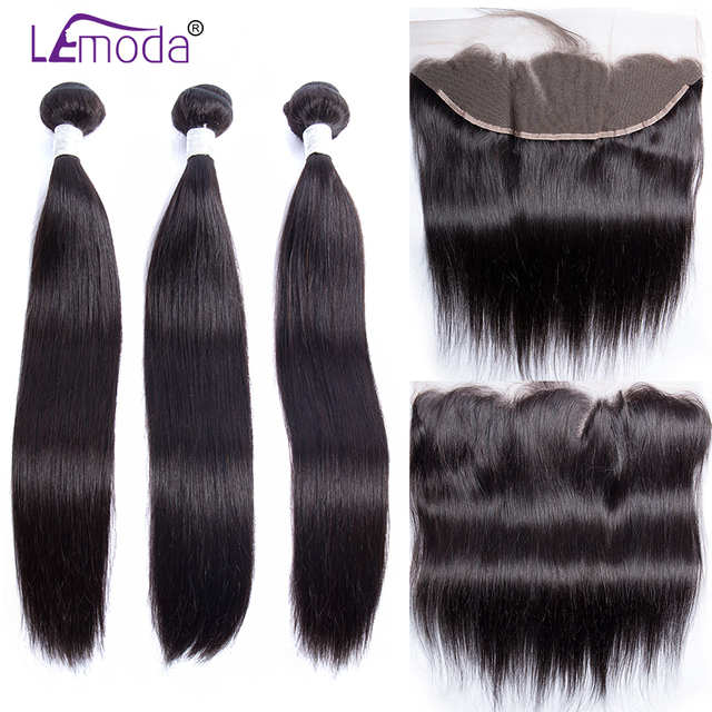 Peruvian Straight Human Hair Bundles With Frontal Closure LeModa Remy Hair Extensions 13x4 Ear To Ear Frontal With Bundles