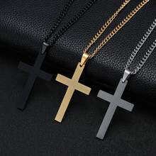Cross Necklaces & Pendants for Men Stainless Steel Gold Colour Male Pendant Necklaces