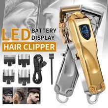 Cortadora de cabello eléctrica profesional con pantalla LCD, recargable, inalámbrica, Barbero, Máquina para cortar Cabello, 0mm, sin cabeza