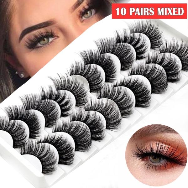 10 Pairs/set Black Mink False Eyelashes For Woman Long Fake Lashes 3D Extension Eyelash Mink Eyelashes For Makeup Beauty