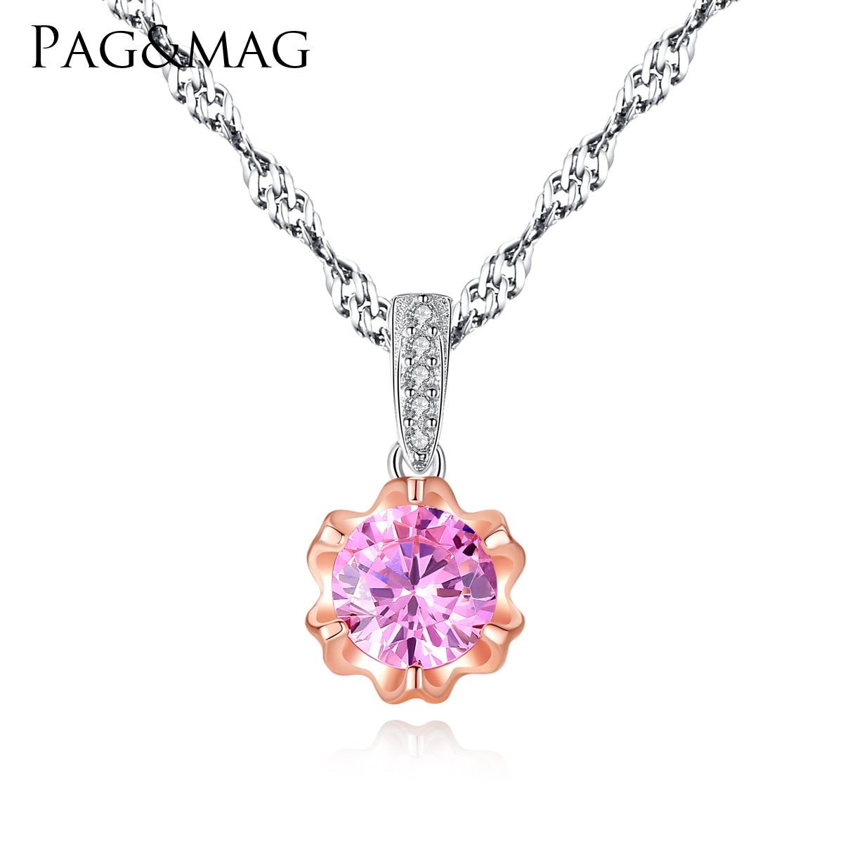 PAG & MAG collier en argent sterling 3A rose zircon fleur pendentif double couleur or boutique dame article