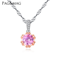PAG&MAG sterling silver necklace 3A pink zircon flower pendant double color gold boutique lady item