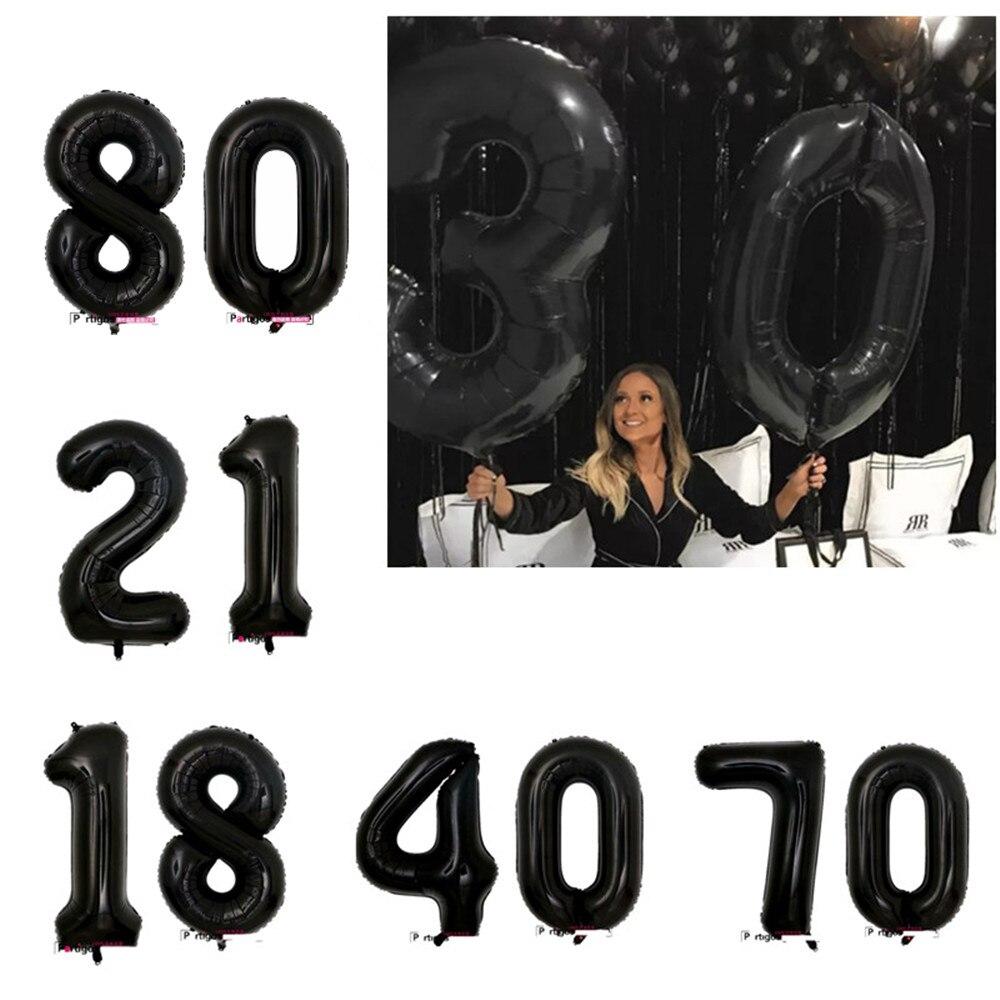 40 zoll schwarz Ballon Banner 18 21 30 40 50 60 Geburtstag Party Dekoration Erwachsene Geburtstag Brief Anzahl Folien Ballon kinder Globos