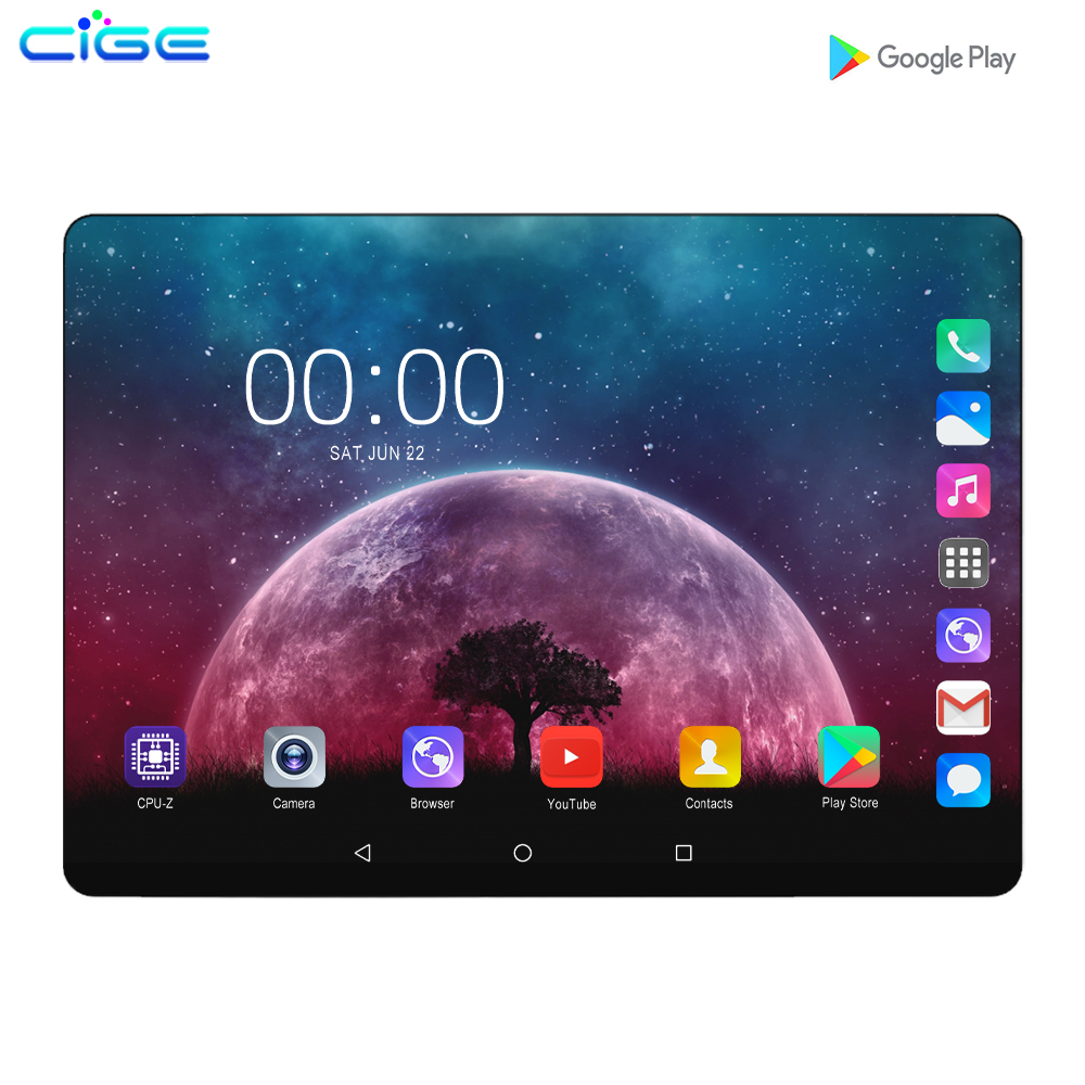 2.5D Steel Screen 10.1 Inch Tablet Android 9.0 3G 4G Lte Phone Call Octa Core 8GB RAM 128GB ROM Bluetooth Wi-FI Tablet PC 10