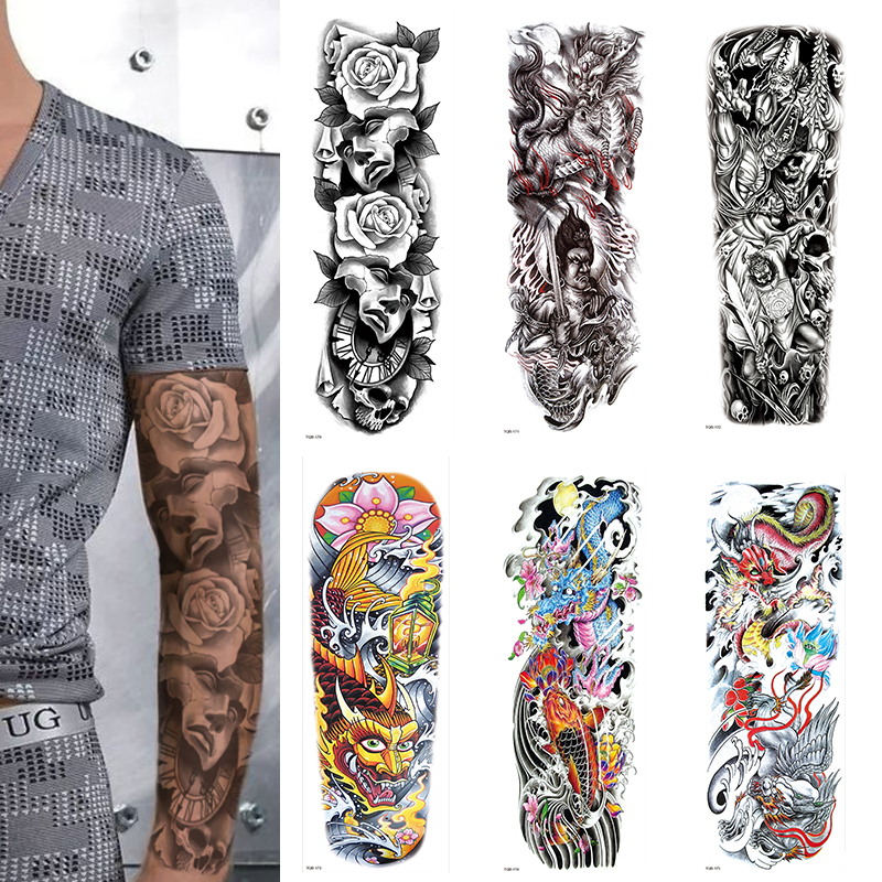 FULL SLEEVE ARM TEMPORARY TATTOO REALISTIC, BLACK ROSE,DRAGON FIRE, FLAMES MENS, WOMENS