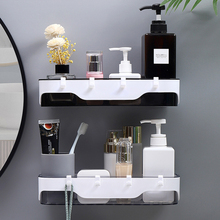 Wall-mounted Storage Rack Bathroom Shelf  For Kitchen With Hooks Storage Bathroom Accessories Without Drill Plastic Container