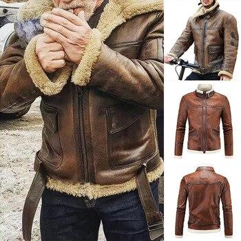 Mens PU Leather Outwear Turndown Collar Motorcycle Coat Biker Style for Fall Winter Warm Coat NIN668