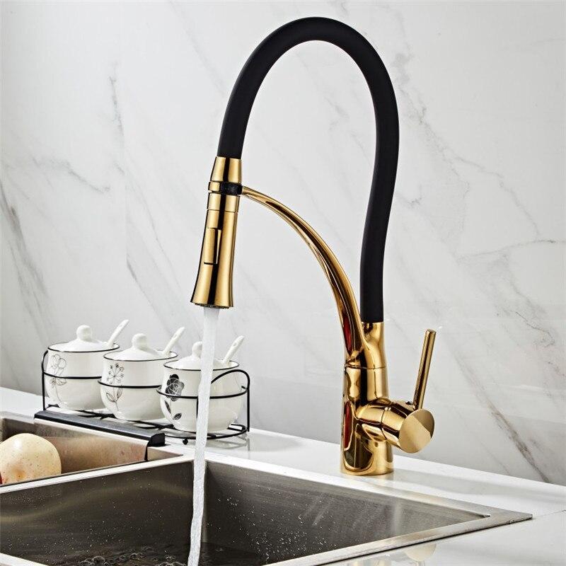 Buse de pulvérisation à tirette en laiton | Robinet d'évier de cuisine en laiton, robinet mitigeur d'évier de cuisine chaud et froid, tuyau en Silicone à une poignée robinet de grue d'eau