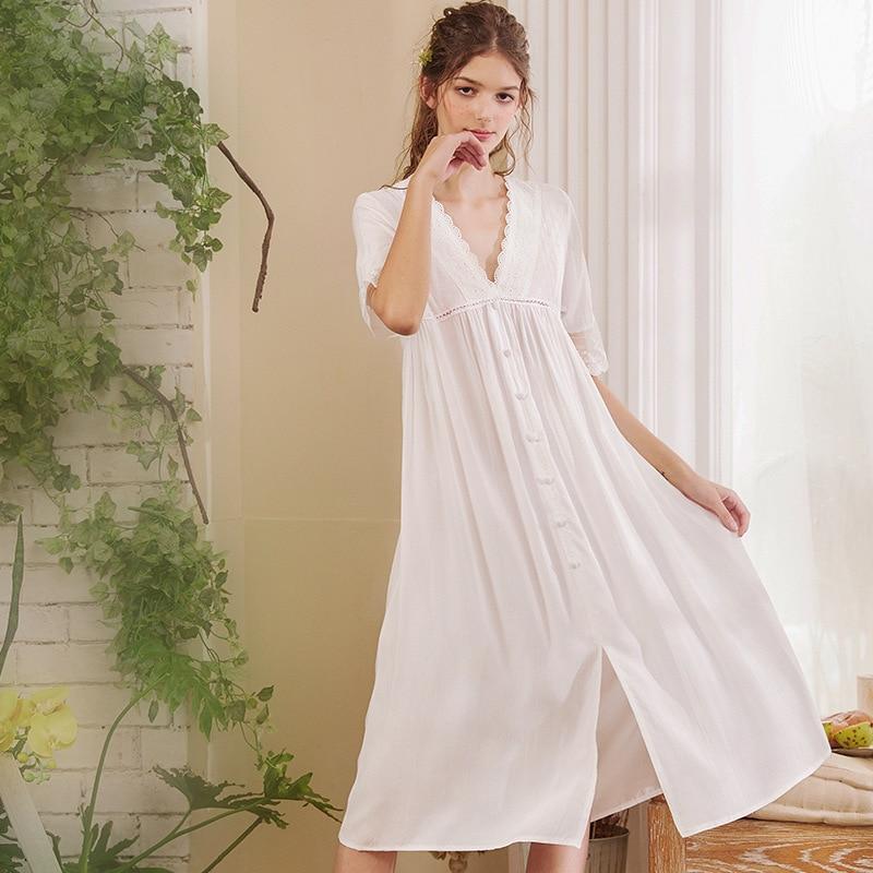 Image 4 - Roseheart Women White Sexy Sleepwear Night Dress Lace Homewear Nightwear Luxury Nightgown Female Court Gown CottonNightgowns & Sleepshirts   -