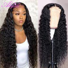 Abijale HD прозрачный объемных кудрявы волнистых 13x6 Синтетические волосы на кружеве парики из натуральных волос на кружевной 5x5 Вьющиеся Кружев...