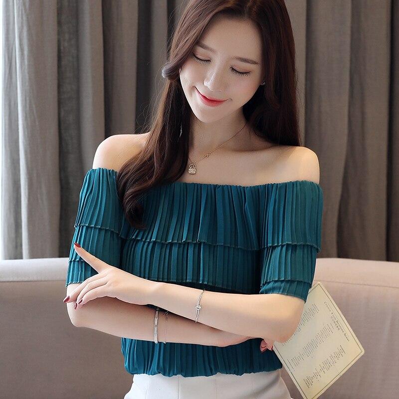 Korean Chiffon Blouses Women Tops Woman Solid Ruffles Blouse Top Plus Size Blusas Mujer De Moda 2020 Womens Slash Neck Blouse XL